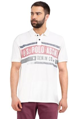 Mens Graphic Print Polo T-Shirt