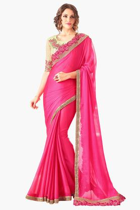 DEMARCA Womens Two-toned Chiffon Zari Border Saree