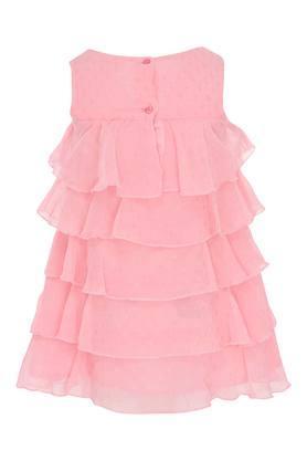 Girls Round Neck Assorted Tiered Dress