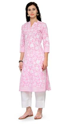 Women Printed Cotton Kurta witth pants