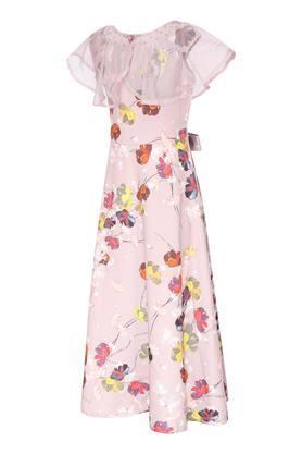 Girls Round Neck Printed Cape Maxi Dress