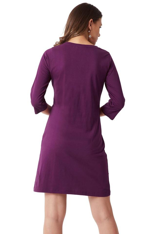 Womens Relaxed Fit Round Neck Solid Embellished Shift Dress