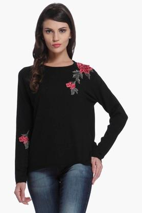 ONLY Womens Round Neck Embroidered Pullover