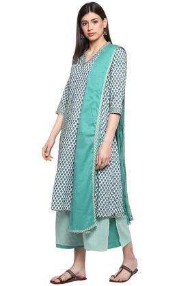 Womens V Neck Printed Palazzo Suit