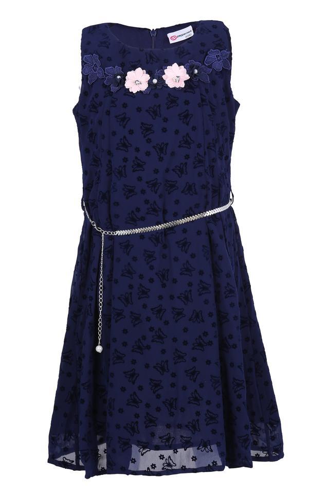 Girls Round Neck Applique A-Line Dress with Belt