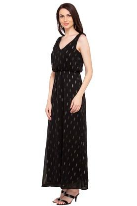 Womens V Neck Shimmer Maxi Dress