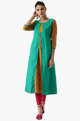 LIBAS Womens Rayon Printed A Line Kurta With Jacket