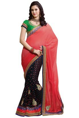ASHIKA Printed Georgette Silk Saree With Blouse Piece