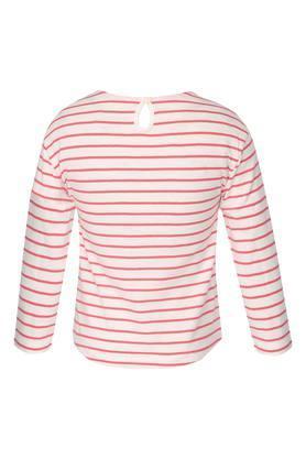 Girls Round Neck Striped Tee