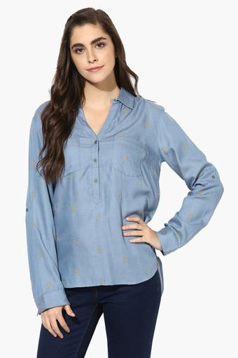 Womens Collared Embroidered Top