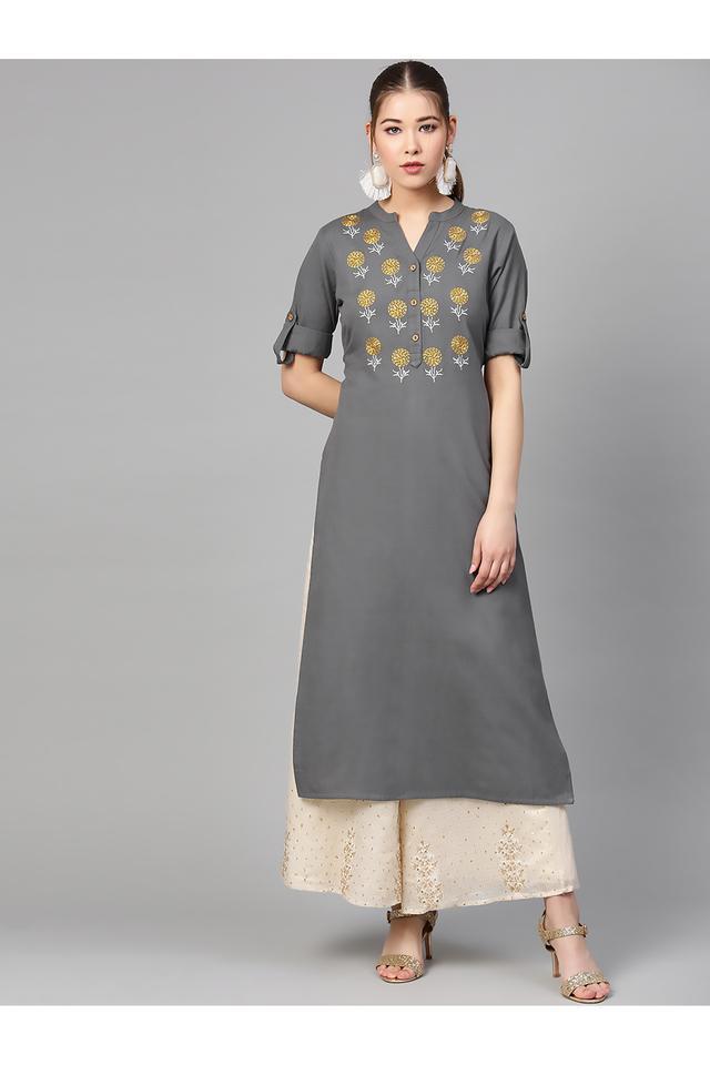 Womens Mandarin Collar Solid Embroidered Kurta