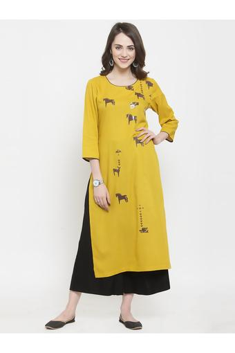 Womens Round Neck Printed Kurta and Palazzo Set