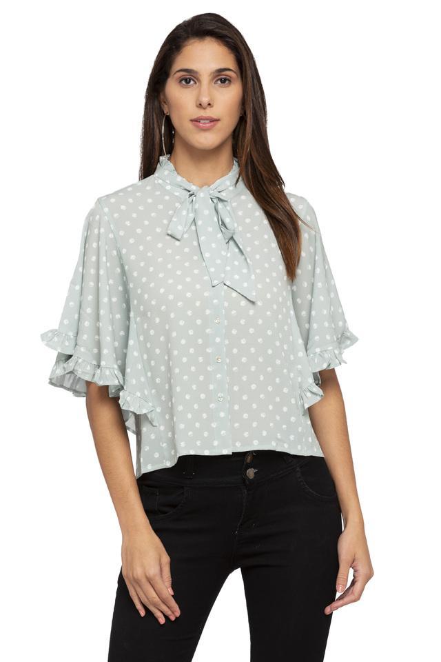 Womens Tie Up Neck Dot Pattern Shirt