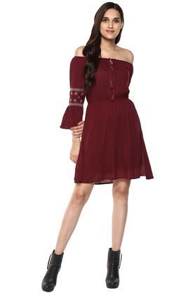 Womens Off Shoulder Neck Solid A-Line Dress
