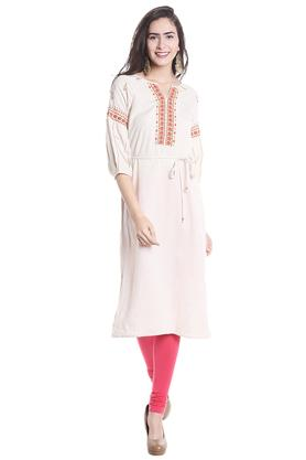 FUSION BEATS Womens Notched Neck Printed Kurta - 203677756