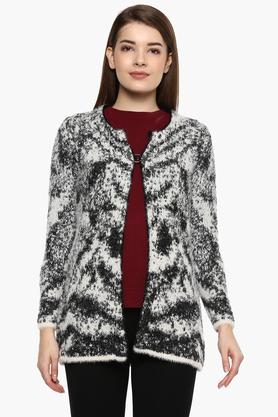 ONER Womens Notched Neck Printed Cardigan