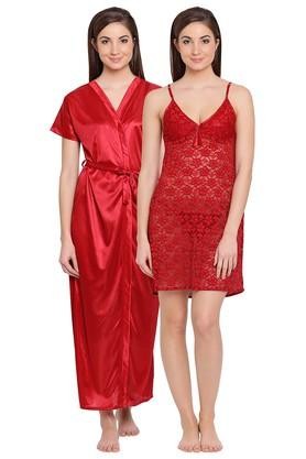 04b1016cbe X CLOVIA Womens Solid Robe and Lace Night Dress with Thong. CLOVIA. Womens  ...