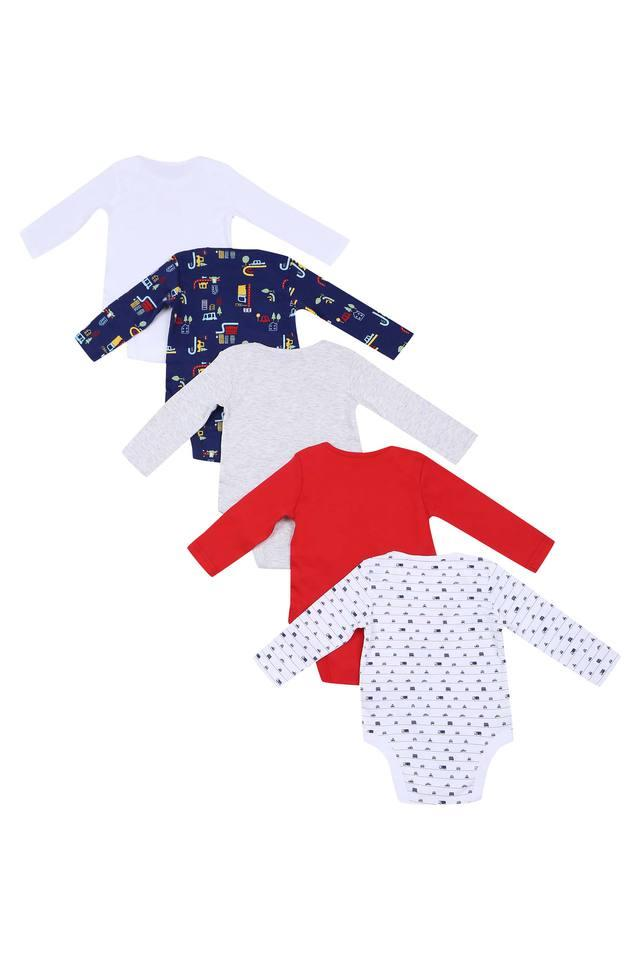 Boys Envelope Neck Printed Slub and Solid Bodysuit - Pack of 5