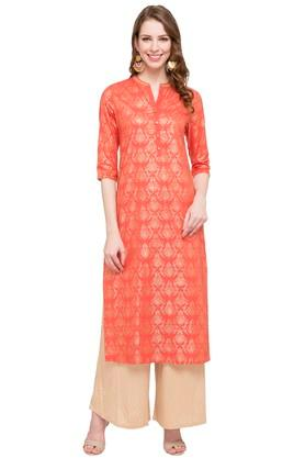 HAUTE CURRY Womens Mandarin Neck Printed Kurta - 203880264_9601