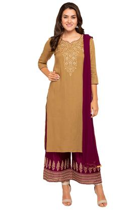 STOP Womens Notched Embroidered Kurta And Palazzo Set