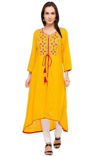 Womens Notched Collar Embroidered Kurta
