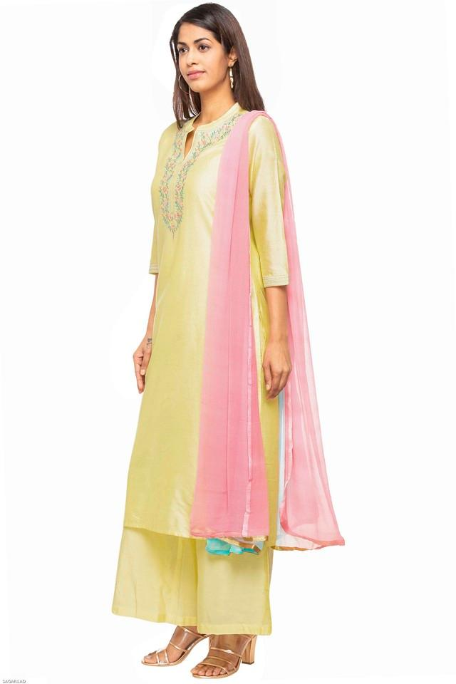 Womens Mandarin Collar Embroidered Palazzo Suit