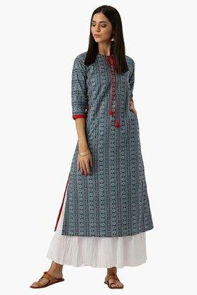 LIBAS Womens Tie Up Neck Printed A-Line Kurta With Both Side Pocket