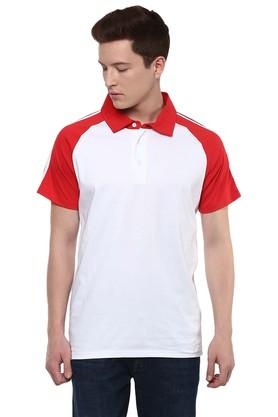Mens Straight Fit Colour Block Polo T-Shirt