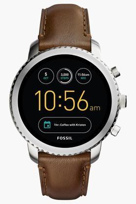 FOSSILMens Q Explorist Brown Leather Gen 3 Smart Watch - FTW4003