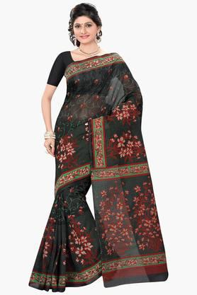 DEMARCA Womens Cotton Blend Floral Print Saree