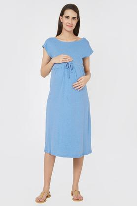 a5a34ecd08c X MYSTERE PARIS Maternity Round Neck Slub Maternity Dress