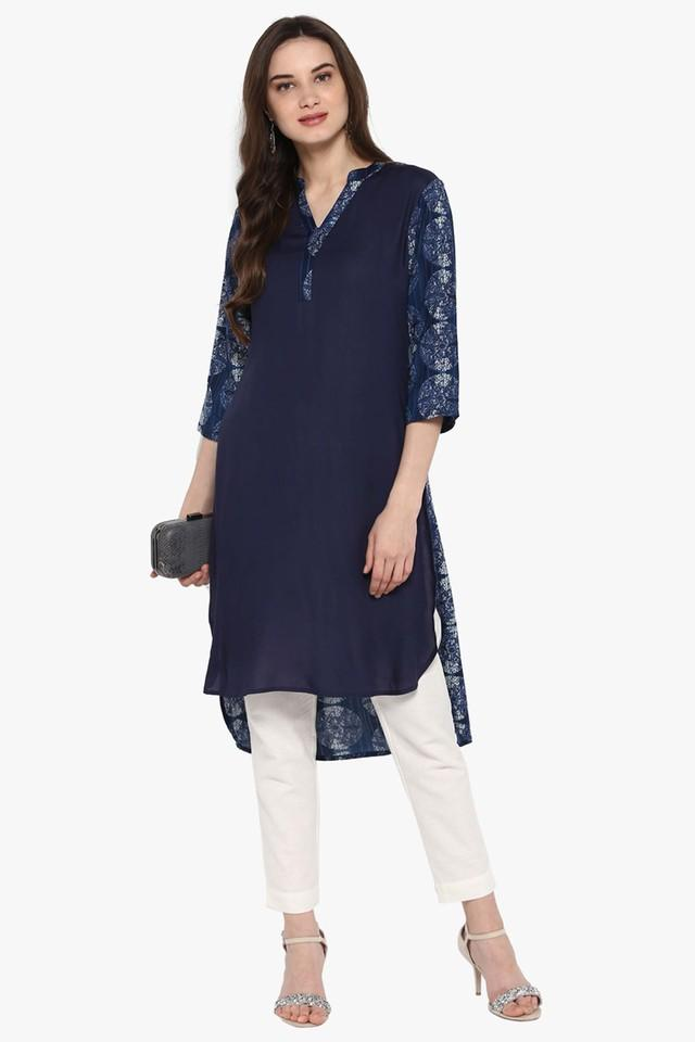 Womens Printed Front Slit Kurta with Fringes
