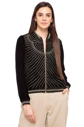 Womens Mandarin Collared Embroidered Jacket
