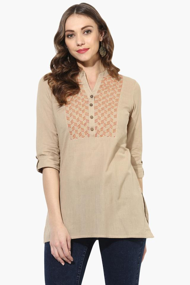 Womens Chanderi Gold Print Double Layered Long Kurta