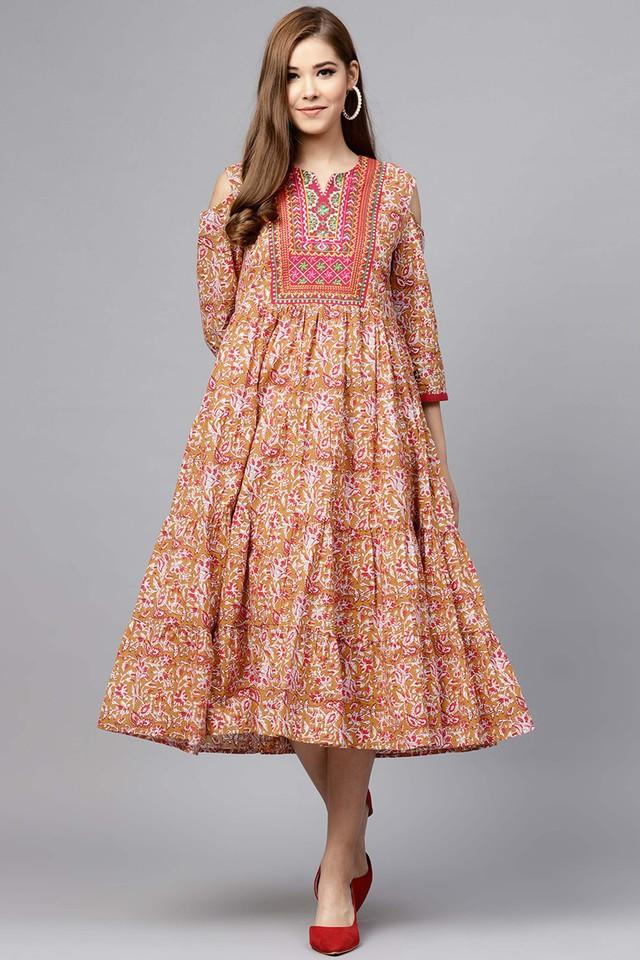 Womens Notched Collar Floral Print Flared Dress