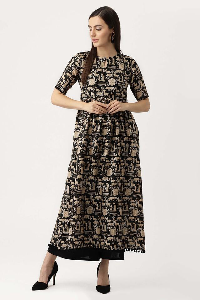 Womens Key Hole Neck Printed Kurta