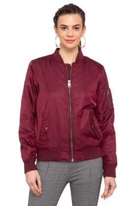 LEVISWomens Zip Through Neck Solid Jacket