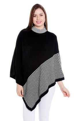 FUSION BEATS Womens High Neck Printed Poncho