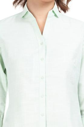 Womens Collared Slub Shirt