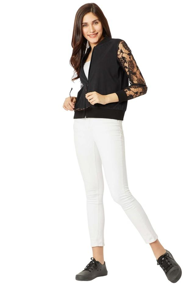 Womens Zip Through Neck Lace Bomber Jacket