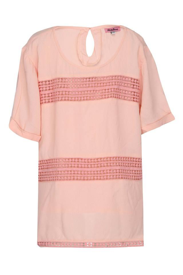 Girls Round Neck Solid Lace Top