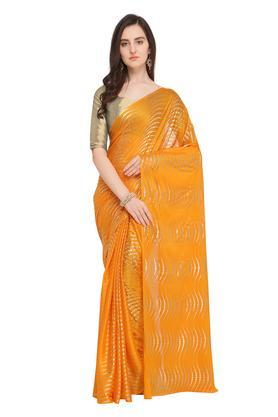 Womens Stripe Saree with Blouse Piece