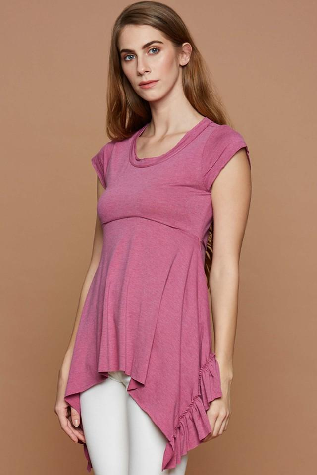 Womens Round Neck Slub Asymmetrical Top