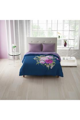SPACESCotton Floral Print Double Bedsheet With 2 Pillow Covers, 2 Euro Sham And 1 Duvet Cover