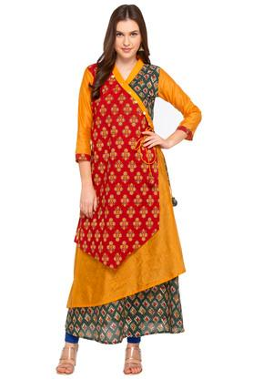 Womens Surplice Neck Printed Kurta