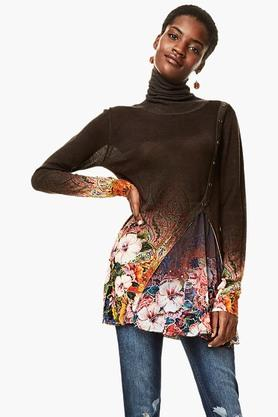 DESIGUALWomens Turtle Neck Printed Knitted Pullover