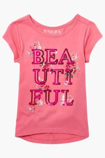 Girls Round Neck Embellished T-Shirt