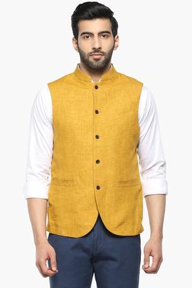 Mens Mao Collar Slub Nehru Jacket