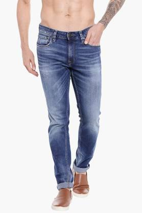 JACK AND JONES Mens 5 Pocket Skinny Fit Heavy Wash Jeans