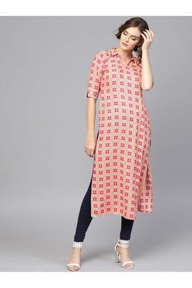 Women Rayon Printed Straight Kurta